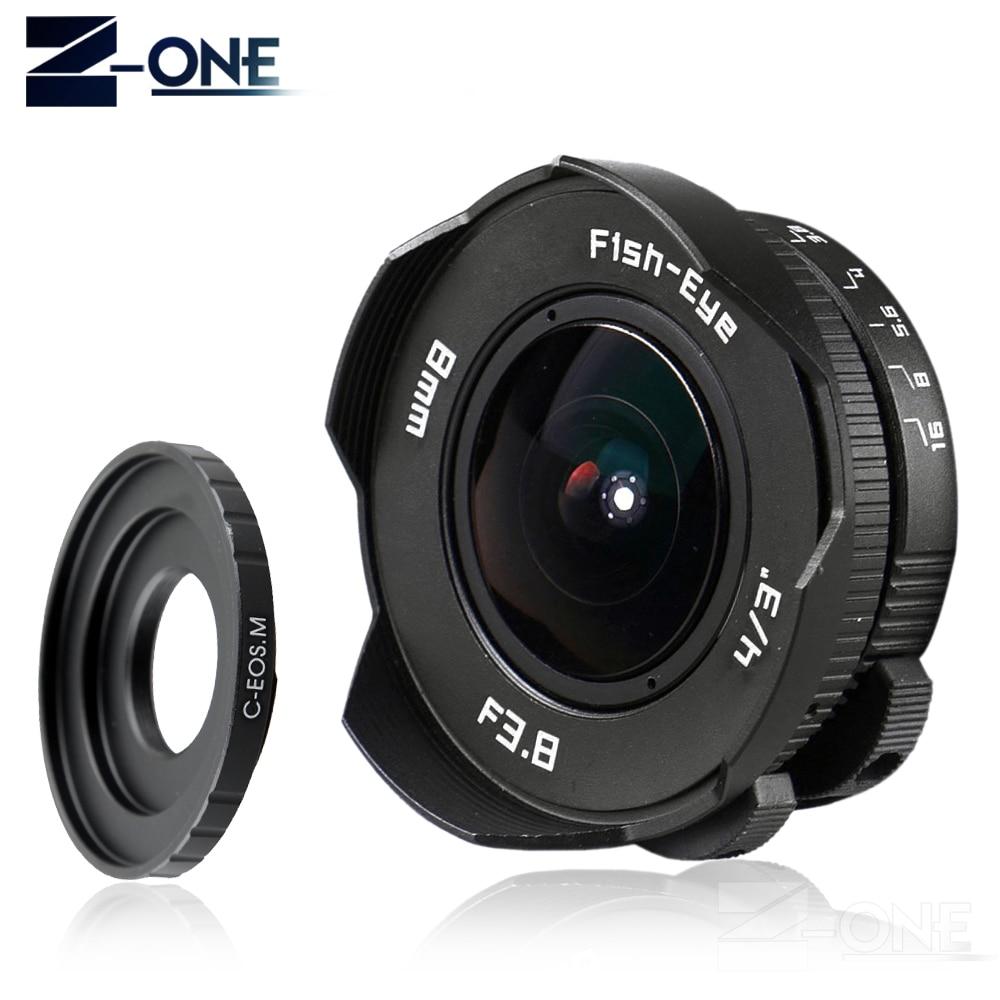Nouveau 8mm F3.8 Fish-eye C monture grand Angle Fisheye lentille focale oeil de poisson combinaison pour Canon EOS M M2 M3 M5 M6 M10 sans miroir