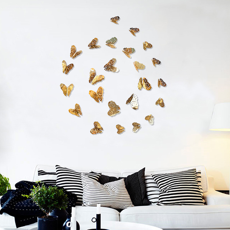 Pcslot D PVC Wall Stickers Butterflies Hollow DIY Home Decor - Butterfly wall decals 3dpvc d diy butterfly wall stickers home decor poster for kitchen