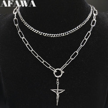 2019 Punk Stainless Steel Cross Chain Necklace for Women Silver Color Layered Statement Necklace Jewelry cadenas mujer N19178 цена