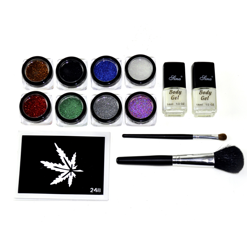 ФОТО GIitter boby art tattoo kits 8 Colors Temporary  Glitter Tattoo Kit for Body Art with Stencil Glue and Brushes GTTK-2T008-002 DD