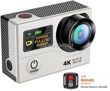 Эйке WI-FI 4 К Ultra HD Действие Видео Камера двойной Экран пульт дистанционного видеокамеры DV Selfie цифрового видео Камера 30 м водонепроницаемый