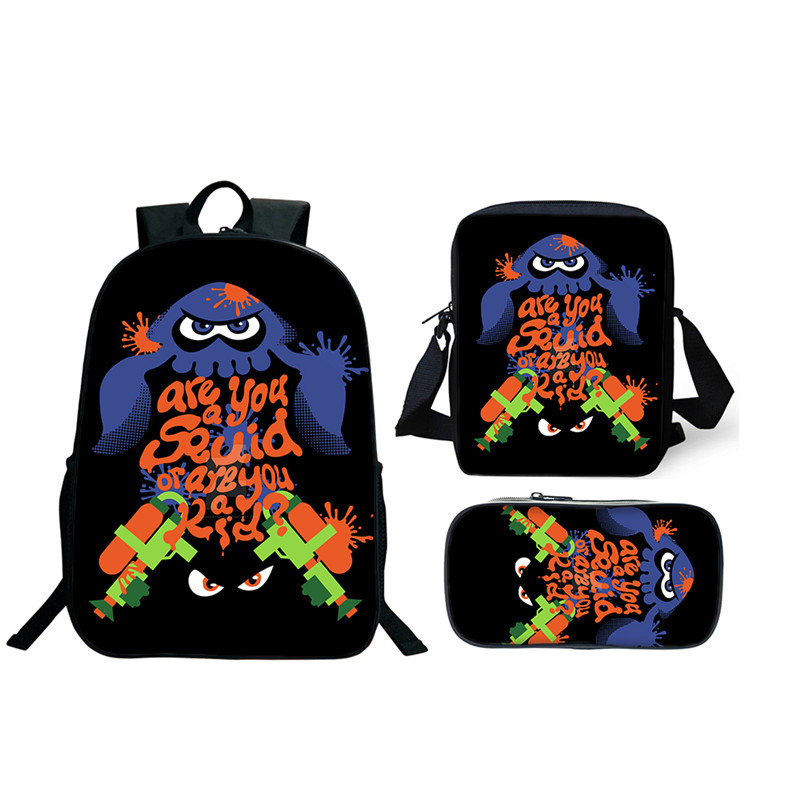 3Pcs/Set More Cheaper School Bags Splatoon 2 Backpacks For Boy Girls Casual  Game Printed Backpacks Sets Splatoon Bag School Gift