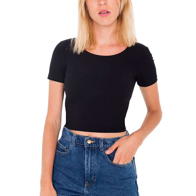 Hot 2020 Solid Color Summer Women Cotton Short T-shirts Ladies Basic Crop Tops Loose Skinny Stretch Short Sleeve Tees Plus Size
