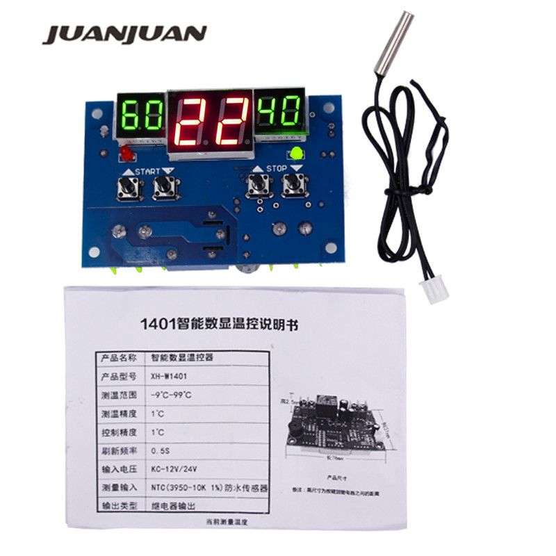 New arrival <font><b>W1401</b></font> <font><b>DC12V</b></font> Intelligent Digital LCD display Controller Regulator <font><b>Thermostat</b></font> Temperature thermometer with Sensor 32% image