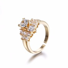 FYM Fashion High Quality Gold Color Flower Shape Opening Ring Wedding Ring Round Cubic Zirconia Crystal Women Rings for Party fym high quality fashion high heels shape crystal cubic zirconia necklace