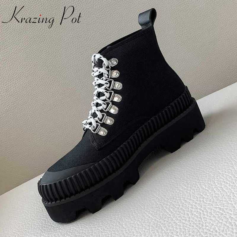 Krazing pot Winter ronde neus koe suede lace up dikke bodem metalen klinknagels Koreaanse versie streetwear high fashion enkellaarsjes l69