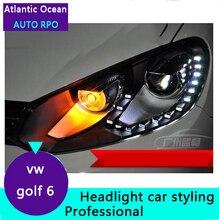 AUTO. PRO 2009-2013 Para vw golf 6 car styling faros de xenón bi xenón lente 15 led DRL para vw golf mk6 faros H7 aparcamiento