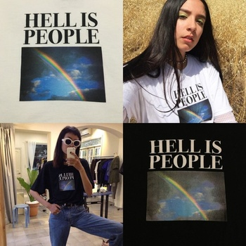 HahayuleUnisex mężczyźni kobiety Tumblr Grunge Tee piekło to ludzie nadruk tęcza cytaty graficzna koszulka ulica harajuku nosić fajny strój tanie i dobre opinie WOMEN tops Tees REGULAR Drukuj Krótki O-neck NONE COTTON Suknem Na co dzień