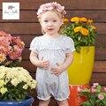DB3485 дэйв белла летний новорожденного хлопок синий ромашка печатные ползунки детские одежда девушки цветочные ползунки ребенка 1 шт. костюмы