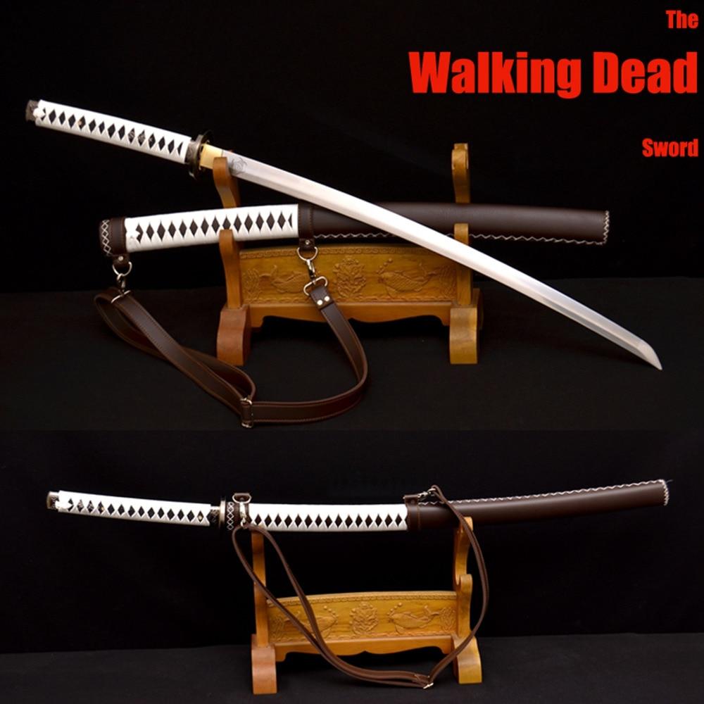 Handmade Samurai Japanese Walking Dead Sword Damascus Steel Sharp Michonne s Katana Zombie Killer Leather Wrapped