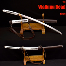Handmade Samurai Japanese Walking Dead Sword Damascus Steel Sharp – Michonne's Katana Zombie Killer Leather Wrapped Saya
