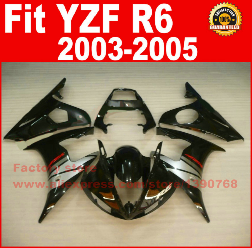 Road/race motorcycle fairings kit for YAMAHA R6 2003 2004 2005 YZF R6 03 04 05  black silver fairing kits bodywork part интегральные стереоусилители yamaha r s202 silver