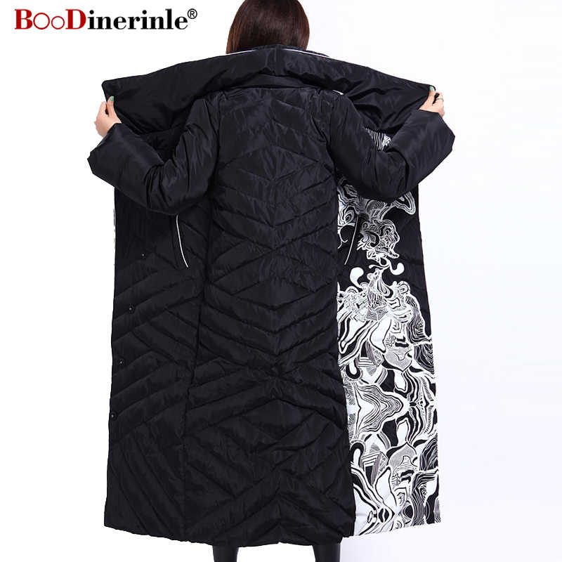 Женская зимняя длинная куртка с элегантным принтом, 90% белое пуховое пальто, женские пуховики, куртки, теплая женская пуховая парка, Женская YR159-1