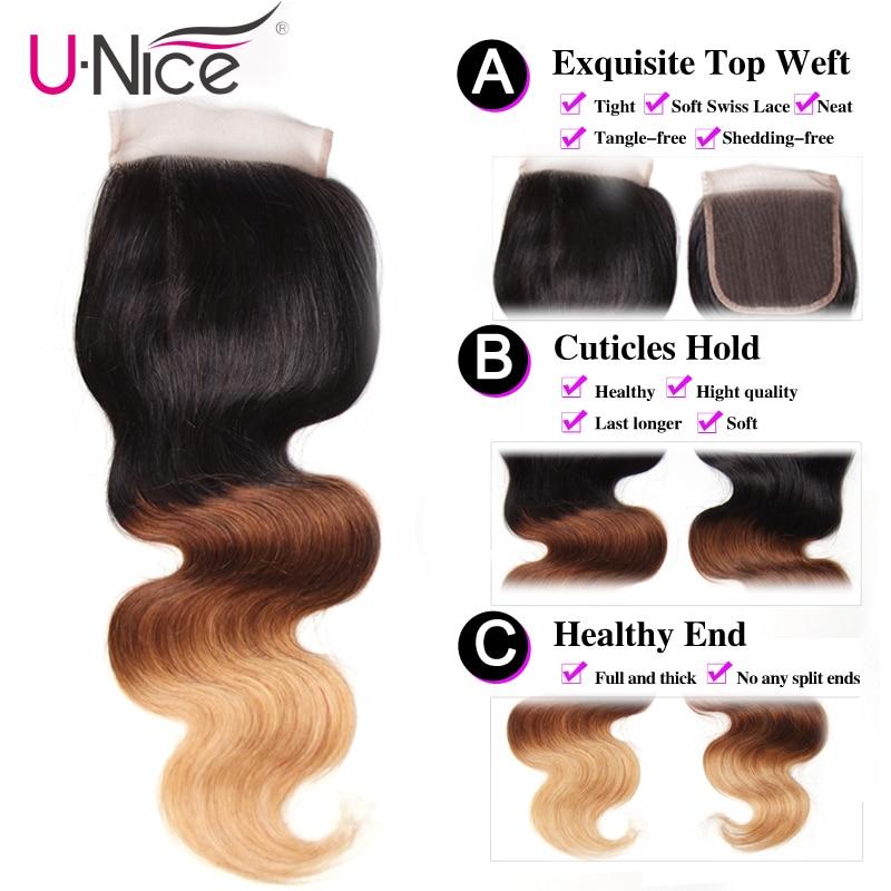 Unice Hair Lace Closure Brazilian Body-Wave 100%Human-Hair Free-Part T1b/4/27-10-20inch
