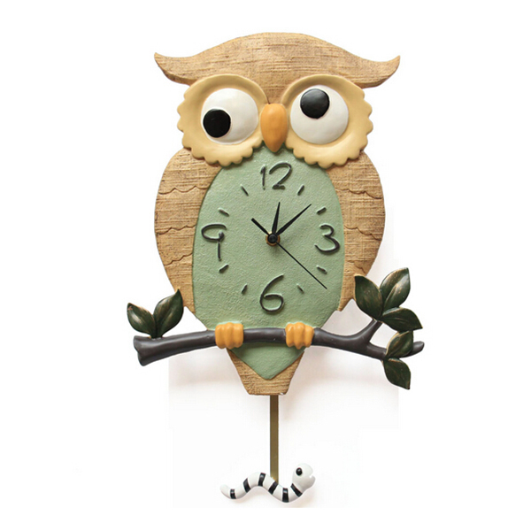 Silence Cartoon Wall Clock Cute Owl Clock Wall Decoration Ticking Silent Clock