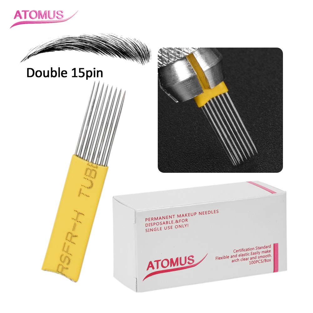 100pcs Double 15pin Agujas Microblading Microshading Micro Needling Needles Microblading Naald Tebore Lamina Eyebrow Embroidery-in Tattoo Needles from Beauty & Health