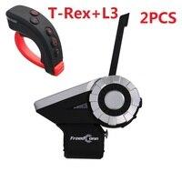 FreedConn 1500 м 2 шт. T Rex + L3 мотоцикл Bluetooth шлем домофон гарнитура с L3 пульт дистанционного управления водонепроницаемый