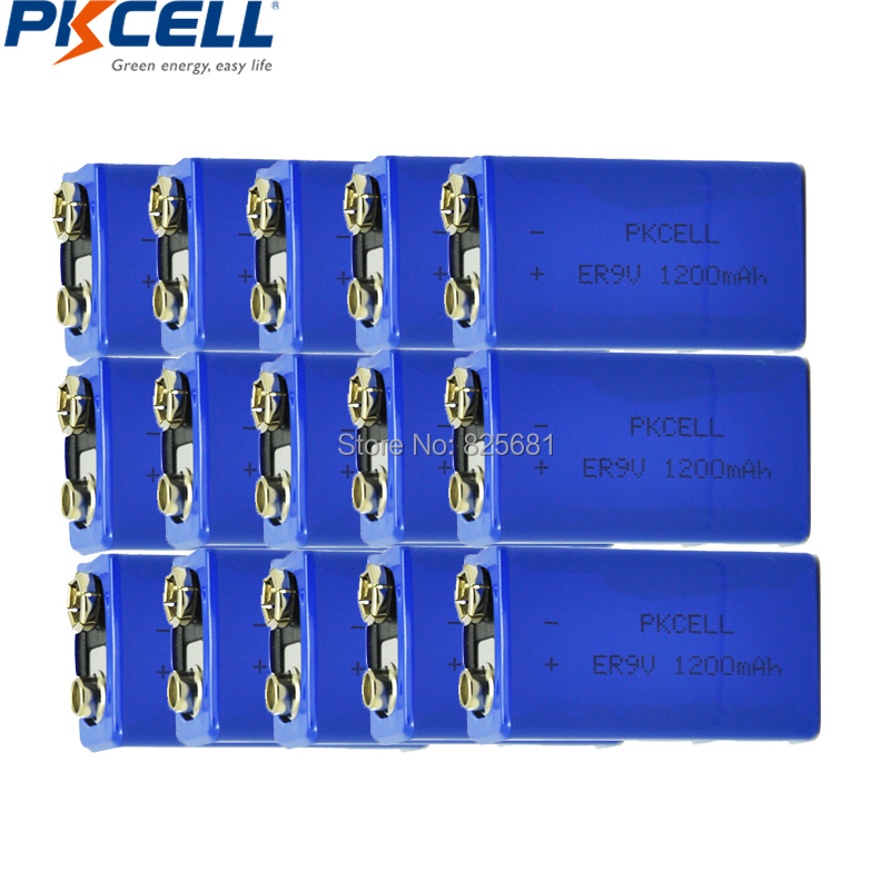 15Pcs PKCELL ER9V 1200mAh 9V Li-SOCl2 Lithium Batteries Bateria For Smoke alarm lithium-ion battery 6LR61 6F22