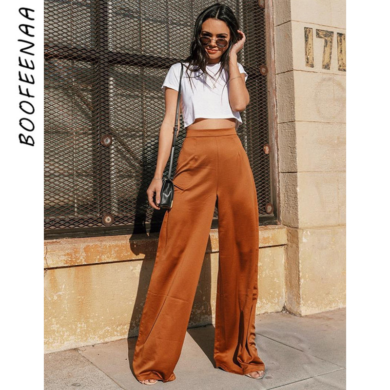 BOOFEENAA Brown Satin Silk Waisted Dress   Wide     Leg     Pants   Women Summer Bottoms Palazzo   Pants   Vintage Loose Trousers C76-AB58