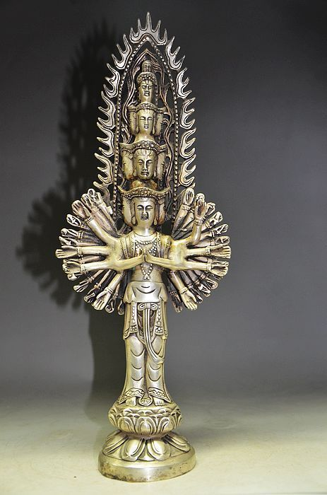13.63 inch/Gold-plated China Tibetan silver and guanyin Buddha statue carving13.63 inch/Gold-plated China Tibetan silver and guanyin Buddha statue carving