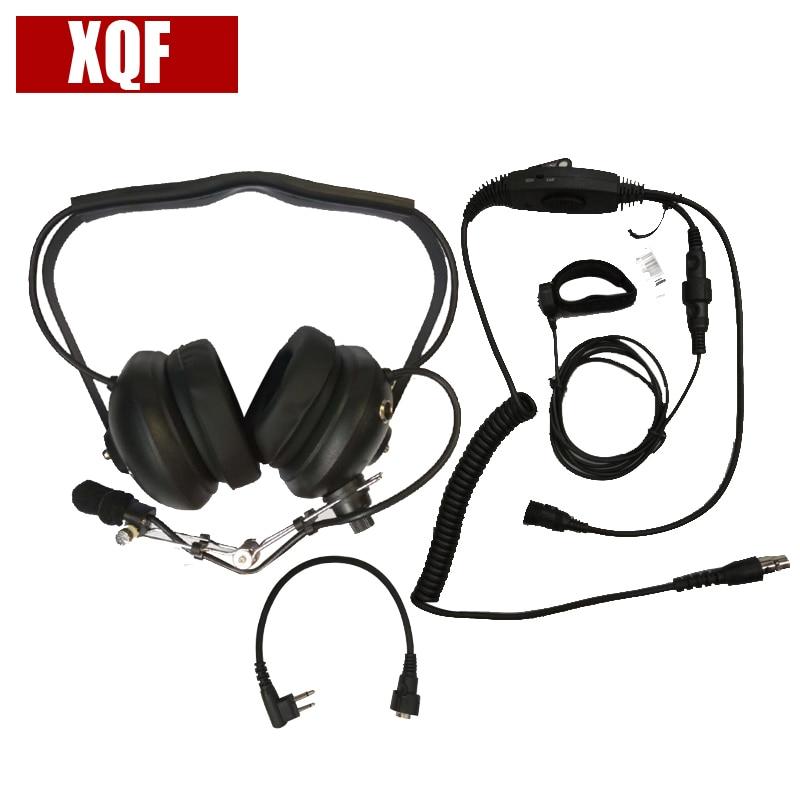 XQF H41 aviation headset VOX PTT Earpiece for Motorola 2 Pin Walkie Talkie EP450 GP2000 GP88 GP88S CP88 Two Way Radio