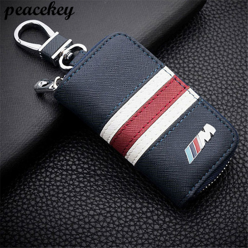 Genuine Leather Car Key sticker case Auto Holder Sticker For BMW M Key Shell M3 M4 M5 M6 X1 X5 X6 X3 E36 E46 E81 E82 E87 E90 E92