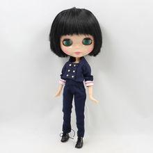 Фабрика Neo Blythe Мужской Кукла Черные Прямые Волосы Соединенного Тела 30cm