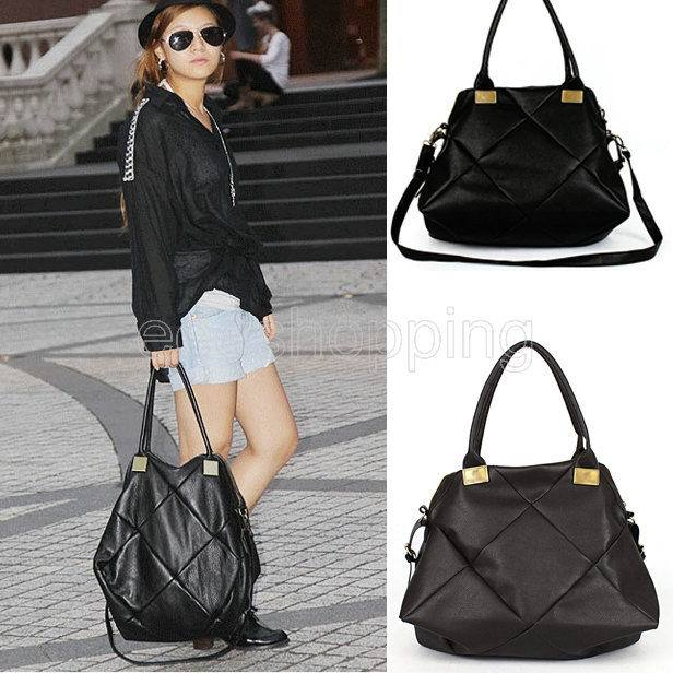 P124 Woman Las Black Brown Solid Design Soft Faux Leather Hobo Totes Shoulder Bag Handbag Purse