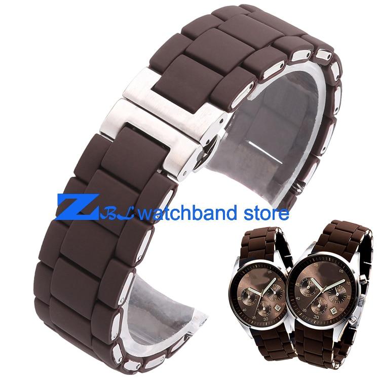 Rubberen horlogeband Staal in bruine silicagel voor heren 23 mm dames - Horloge accessoires