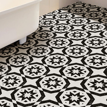 Black And White Portugal Floor Tile Sticker Waterproof  Anti-scratch Anti-skid Wall Stickers Decorative Floor Poster Home Decor