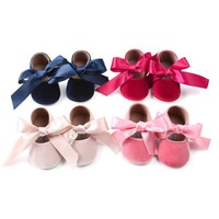 Suede Baby Shoes 2018 Bow Ribbon Baby Girl Shoes Newborn Baby First Walker Suede Spring Girl Shoes Fashion 2018 New Prewalker Baby's First Walkers