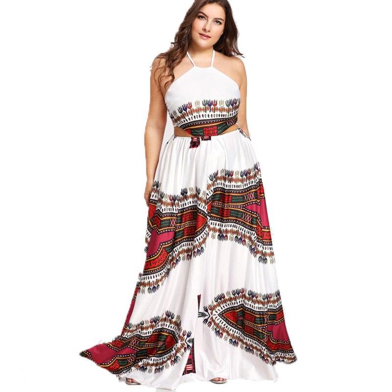 Sleeveless Dress Plus Size Floral Print Beach Dress Sexy Party Backless Dress Big Size Summer Halter Dress 4xl Robe Femme