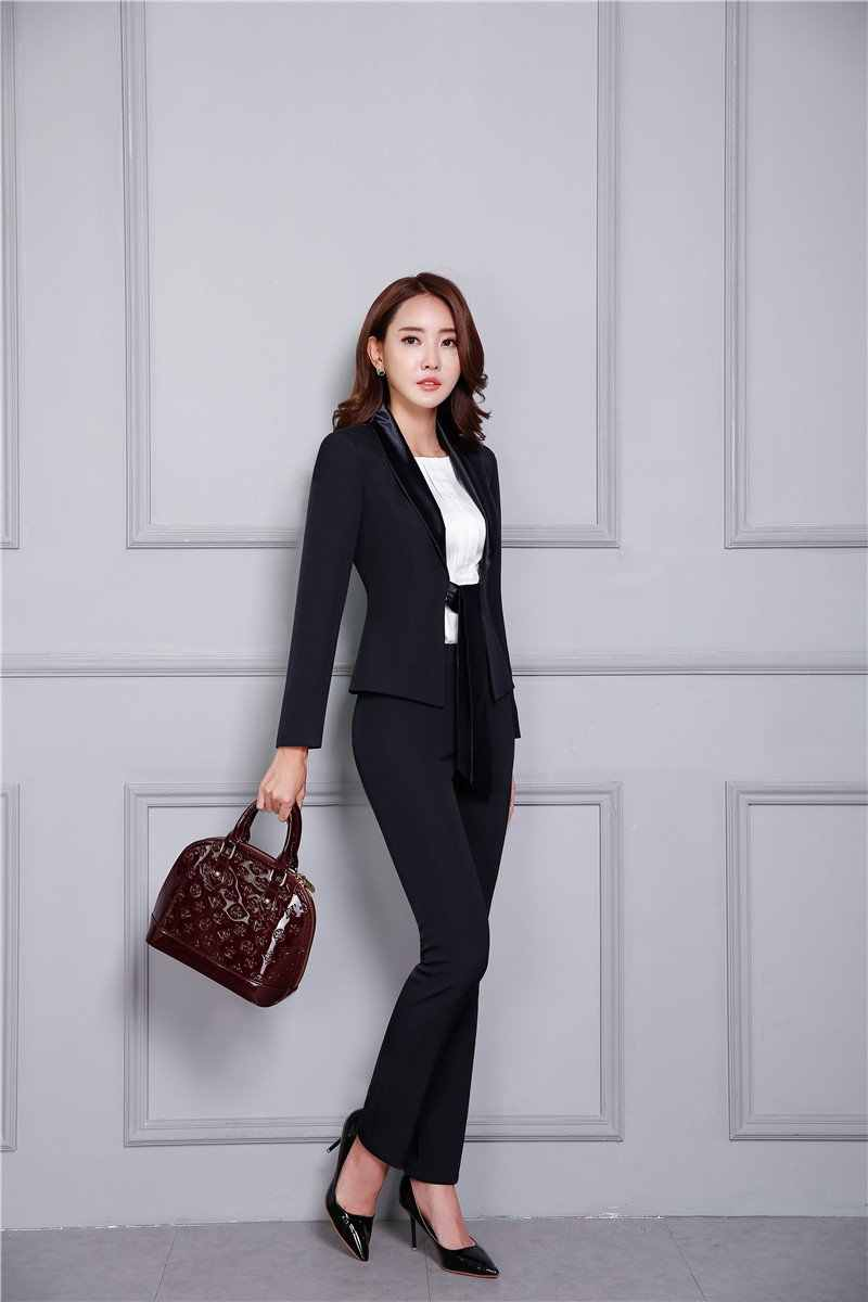 62570bd38bc ... New 2018 Fall Fashion Casual Black Blazer Women Business Suits with  Pant and Jacket Set Elegant