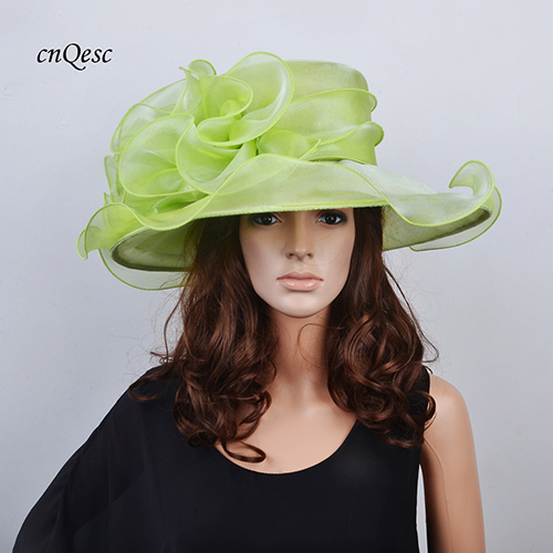 ca1a89a19 US $38.0  Wholesale NEW 13 colours Lime green Wide brim Crystal organza hat  church hat for kentucky derby weddding races.FREE SHIPPING-in Fedoras from  ...
