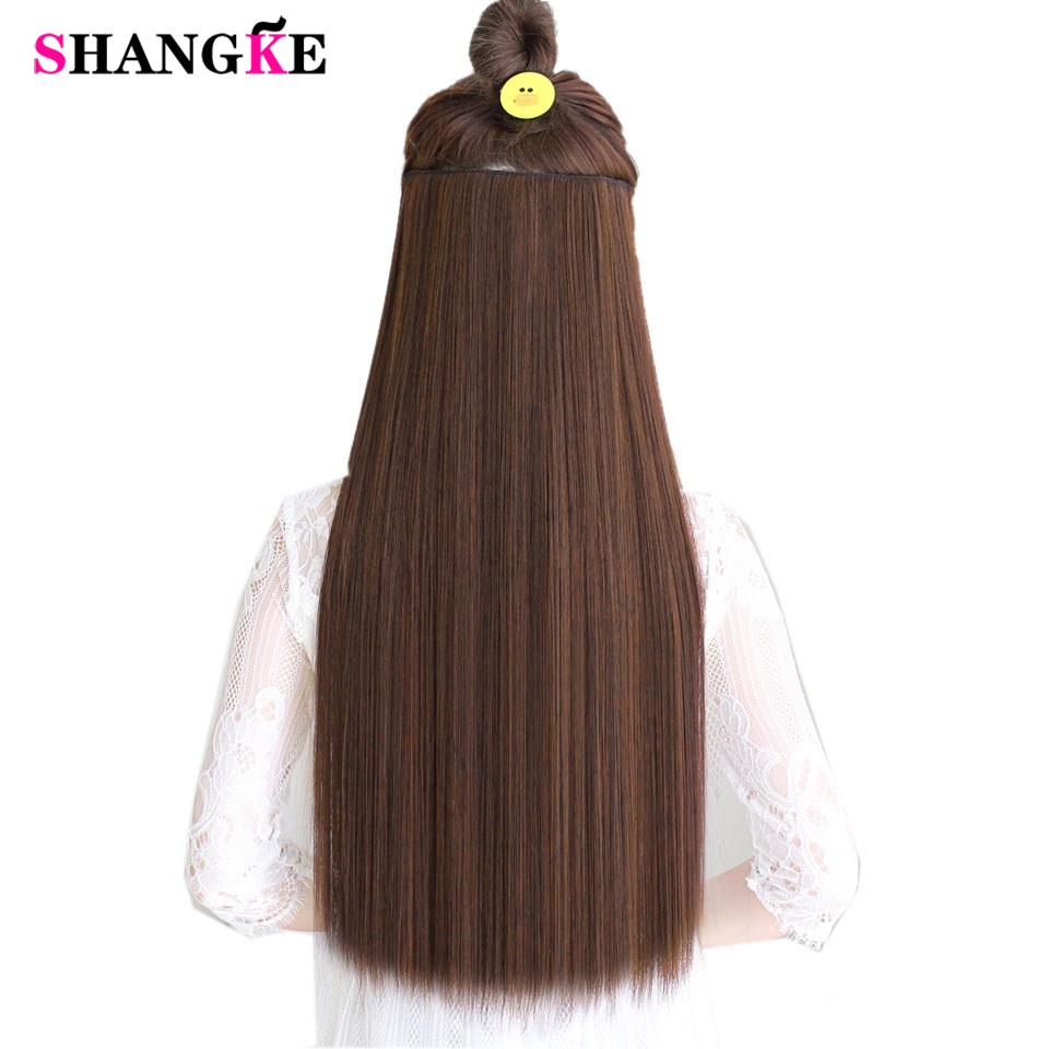 SHANGKE Hair 24 '' Langt Straight Hair Extensions 5 Klip i Fake Hair Extension Varmebestandigt Syntetisk Fake Hairpiece Frisure
