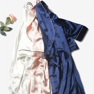 Image 2 - Bata de boda de satén de seda para dama de honor, Kimono, bata de baño grande, R202