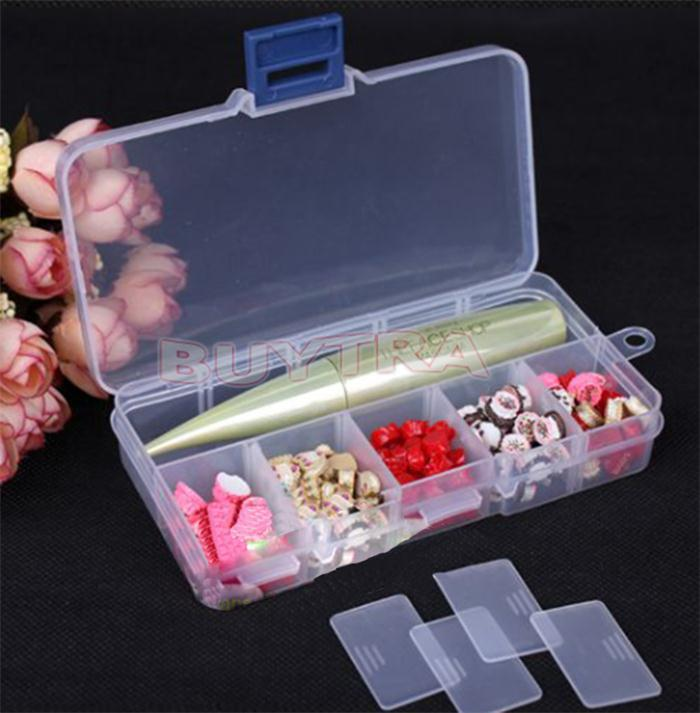 10 Grid Compartments Plastic Transparent Jewel Bead Case Cover Box Adjustable Organizer Storage Container For Jewelry