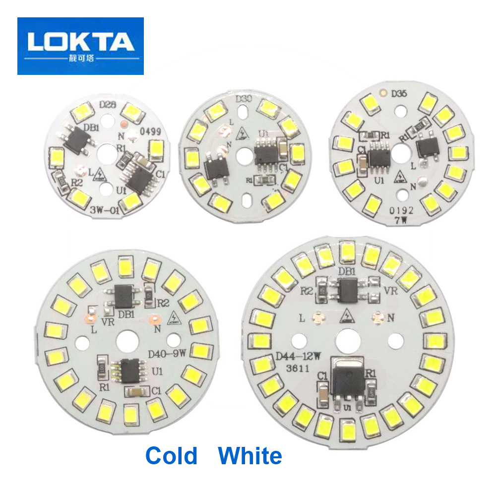 все цены на 10PCS/LOT Driver Integrated LED Chip SMD For Bulb 220V Input Directly With Smart IC DIY 3W 5W 7W 9W 12W Downlight Spotlight онлайн