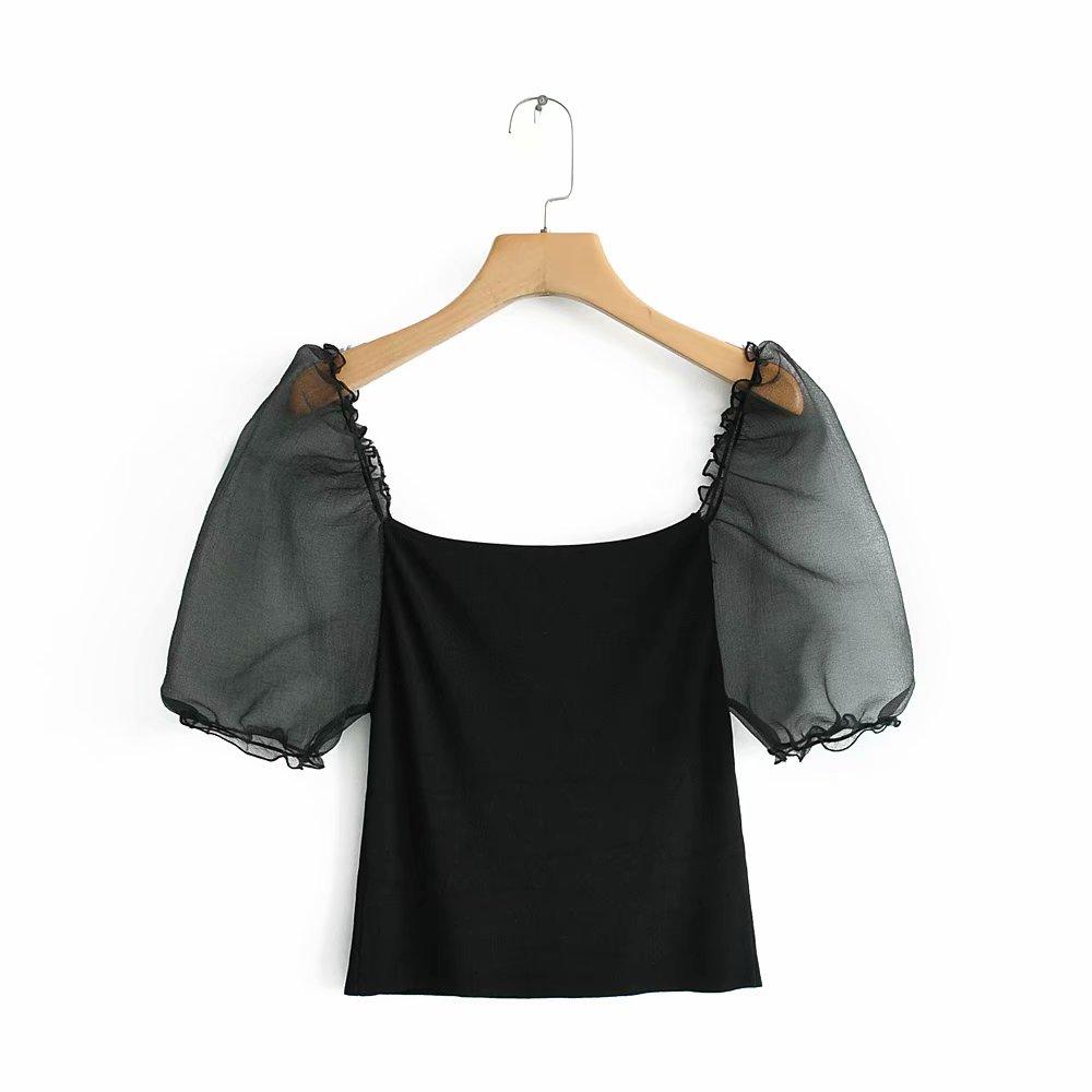 Women Fashion Puff Sleeve Patchwork Knitted Blouse Shirt Women Streetwear Slimming Blusas Chic Retro Black Tops LS3805