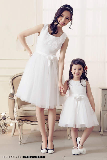 placeholder Mother Daughter Dresses Wedding Dress Lace White Clothes  Princess Tutu Skirt Flower Mom and Baby Daughter a81467436952