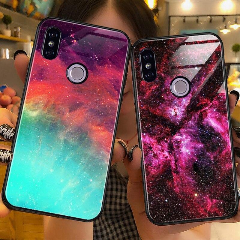 Luxury Glass Case For Xiaomi Redmi Note 6 5 Pro 4X 6 Pro Case For Xiaomi Mi A2 Lite Star Space Case Silicone Coque Artisome (1)