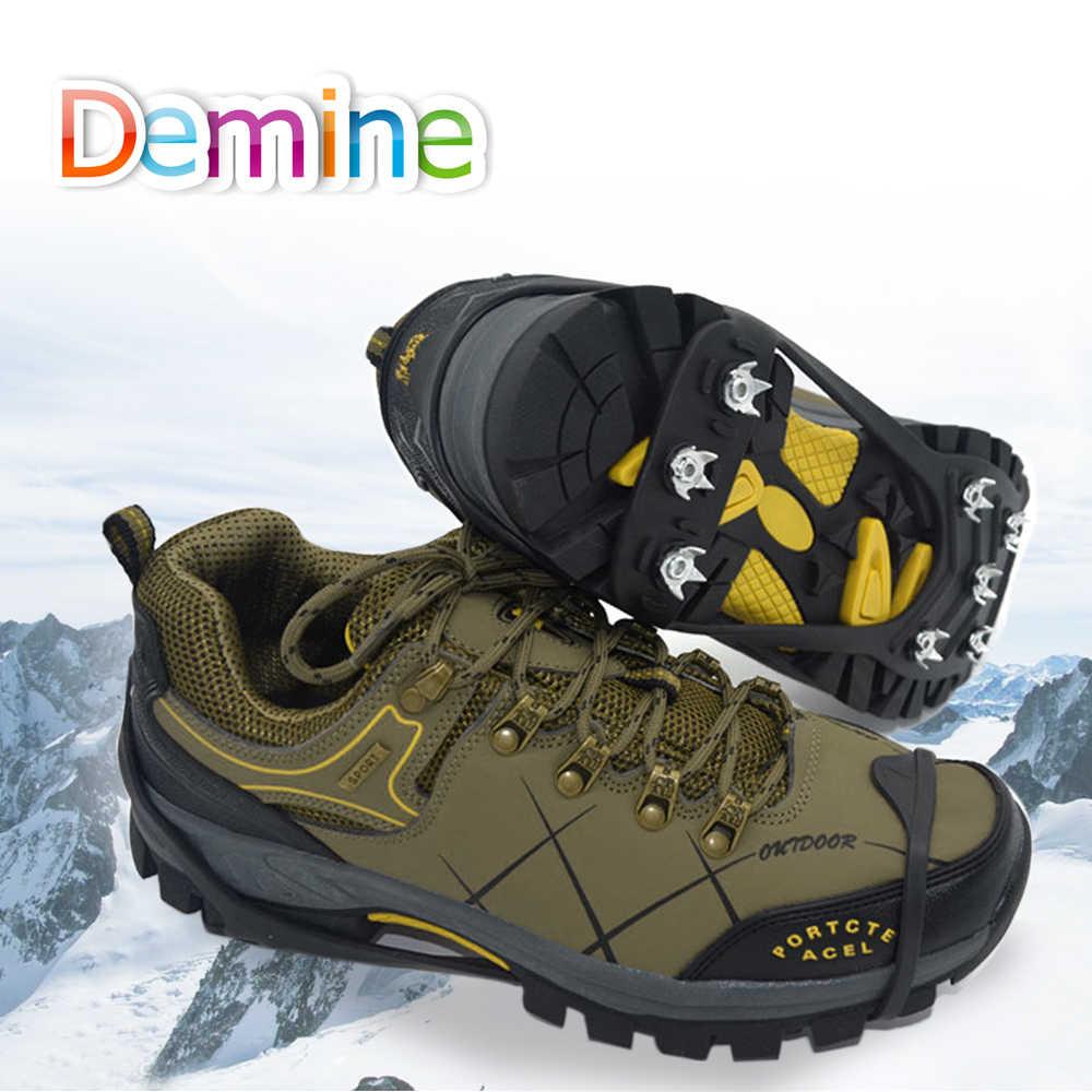 8 tachuelas Demine crampones, clavos para el hielo, cubiertas para zapatos, tacos antideslizantes, herramienta de seguridad para escalada de invierno, zapatos antideslizantes, crampones para nieve
