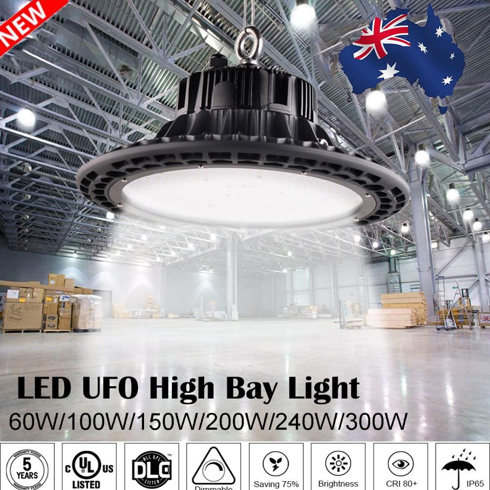 Led ufo haute baie lumières 100 W 150 W 200 W étanche IP65 industriel éclairage entrepôt Garage atelier highbay led