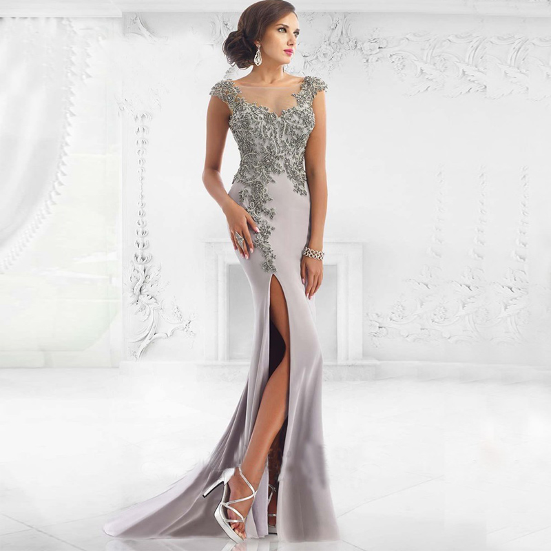 Elegant O Neck Robe Mermaid Trumpet Style Prom Dress Satin Long Prom