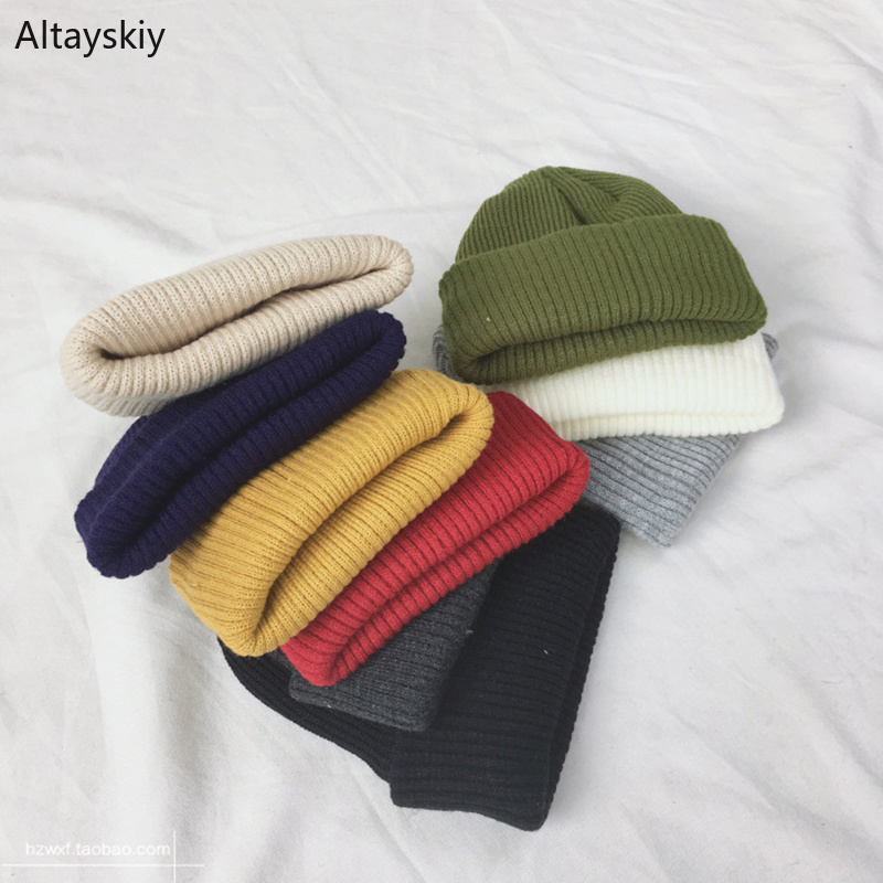 Beanies Women Solid Simple Winter Warm Woolen Knitted Womens Skullies All-match Trendy New Harajuku Chic Students Leisure Hats