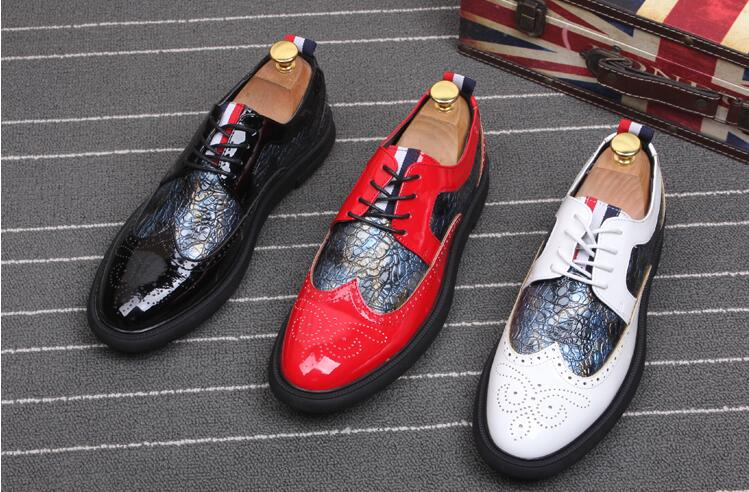 Lace-Up Pointed Toes Men Dress Shoes Mix Colour Carved Smart Casual Flats Brogue Genuine Patent Leather Flats Loafers Summer men fashion business dress genuine leather shoes carved brogue lace up flats shoe breathable comfort loafers moccasins footwear