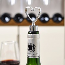Elegant Love Heart Shaped Steel Twist Thread Sealed Wine Bottle Stopper For Bar