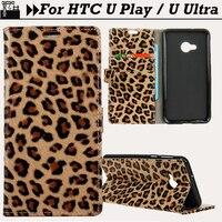 JURCHEN Cover For HTC U Ultra Case Coques Leopard Print 3D Silicone Luxury Leather Flip Back