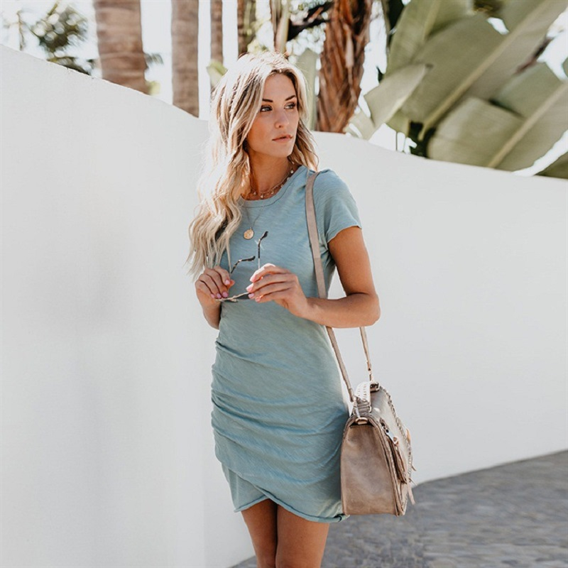 2018 New Fashion Summer Dress Women Plus Size Casual Short Sleeve O Neck Short Pencil Dress Sexy Mini Elegant Slim Party Dresses