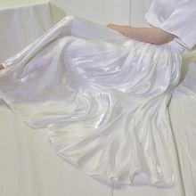 Женская длинная шелковая атласная юбка повседневная плиссированная